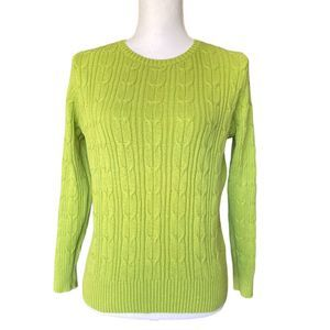 St Johns Bay PM Green Cable Knit Sweater